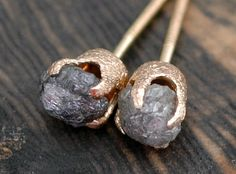 Rough diamond earrings with textured gold post