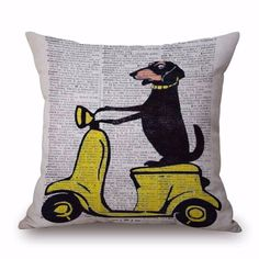 "18"" Dachshund Cotton Linen Cushion Cover Pillowcase Wiener Dog Pattern Waist Throw Pillow Cover by ShindigAccessories on Etsy"