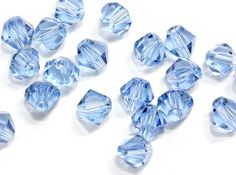 6mm Cornflower Blue Crystal Bi Cones. Light Blue Glass Beads. Blue Bi Cones Crystal Beads Jewelry Supplies. Wholesale Beading Supplies