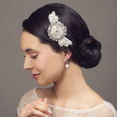 'Empress II' Rhinestone Pearl & Crystal Beaded Bridal / Debutante Hair Comb