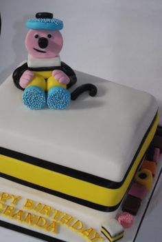 Bertie was a last minute addition to the cake. Made for my friends dads birthday. Three layers of cake inside. Fancy Birthday Cakes, 70th Birthday Cake, Bicycle Cake, Sweetie Cake, Dad Cake, Liquorice Allsorts, Birthday Cake Decorating, Cakes For Men, Christmas Cakes