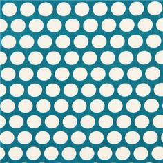 teal birch organic fabric from the USA with white dots