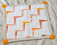 Quilt Mini Quilt Patchwork Orange and Grey Cat by DimpleStitch
