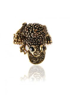 Feng Shui Frog Charm Ring  Feng Shui Good Luck Charm Ring, Highly Textured Frog Body, Lucky Coin in The Frogs Mouth, Antique Gold Finishing, Wide Elasticated Shank. - Rs. 350.00