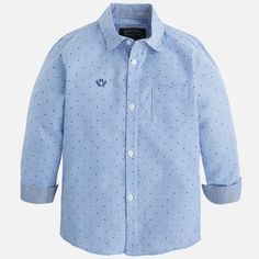 Mayoral Long Sleeve Blue Button Down