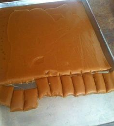 Six Minute Caramels Homemade Candies, Homemade Desserts, Mini Desserts, Sweet Desserts, Six Minute Caramels, Caramel Ingredients, Karo Syrup, Glass Baking Dish, Food Shows