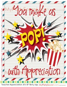 """DIY Printable Teacher Appreciation Popcorn, """"You Make Us POP"""" 8"""" x 10"""" Large Gift Tag or 8"""" x 10"""" picture"""