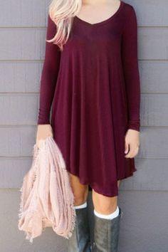 Fresh Style V-Neck Long Sleeve Solid Color Asymmetric Dress For Women Long Sleeve Dresses   RoseGal.com Mobile