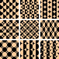 Seamless Geometric Patterns Set In Op Art Desig...