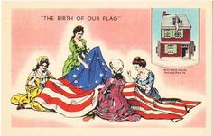 Vintage Philadelphia Postcard - Betsy Ross and the American Flag