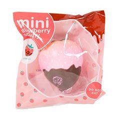 Amazon.com: Mini Cheeki Strawberry Classic Pink Strawberry Dipped in Chocolate Squishy: Toys & Games