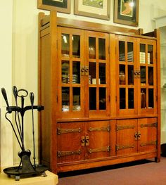 Stickley Furniture in the Arts and Crafts Movement. Stickley Book Cabinet and Fireplace Tools