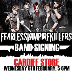 Fearless Vampire Killers will be in our Cardiff store on Wednesday 6th February 2013    This is a lanyard event.    Collect your lanyard from the Cardiff Blue Banana store. Remember to be quick there are only 80 lanyards available and it's a first come first served basis.    Keep your eyes pealed on our Twitter and Facebook page over the next few days as we will be releasing details for 20 online exclusive lanyards for those people who cannot reach the Cardiff store.