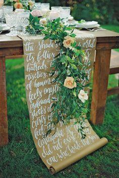 calligraphy scroll table runner - photo by ArinaB Photography http://ruffledblog.com/soft-and-modern-wedding-inspiration