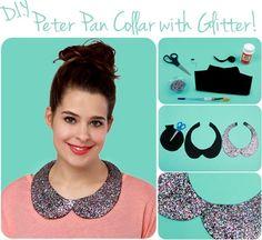 DIY Peter Pan Collar with Glitter diy sew craft crafts easy crafts diy crafts sewing easy diy fashion crafts teen crafts crafts for teens