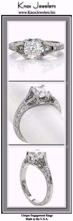 A 1.20 carat cushion cut center stone is fashioned in this vintage inspired engagement ring design. Hand wrought filigree adds a decorative statement to the top and sides of the ring. The scroll pattern is highlighted by the contrast of the carefully stippled background. Accent diamonds adorn the band to add sparkle and brilliance.