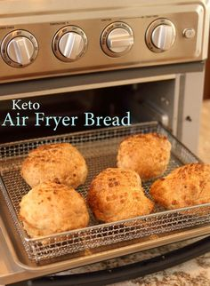 Air Fryer Bread - Maria Mind Body Health Best Picture For Keto recipes breakfast For Your Taste You Low Carb Bread, Keto Bread, Low Carb Keto, Low Carb Recipes, Air Fryer Recipes Low Carb, Easy Recipes, 7 Keto, Oven Recipes, Bread Recipes