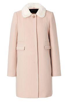 cashmere coat | Tara Jarmon | Pink Wool Cashmere Coat with Mink Collar in Beige | Lyst