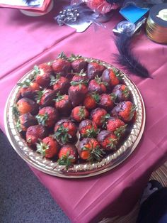 Chocolate strawberries for moulin rouge themed party!
