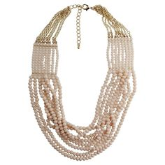 Women's Fashion Beaded 8 Row Necklace - Gold/Cream (21.5)