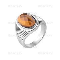 anillo de piedra marron especial en acero plateado inoxidable para hombre -SSRGG271892