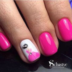 Bright pink nails, Cheerful nails, Manicure for young girls, Nails with artistic painting, Nails with rhinestones ideas, Painted nail designs, Raspberry nails, Spring nail art