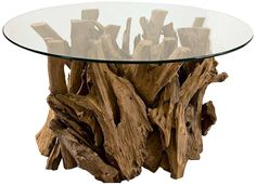 Uttermost Driftwood Glass Top Cocktail Table | LampsPlus.com