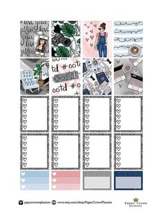 Outfit Of The Day Weekly Planner Sticker Kit/Printable Planner