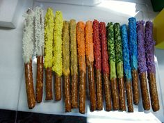 """Young Women New Beginnings: Pretzels dipped in """"value colored"""" chocolate."""