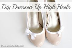 DIY dressed up heels (or flats) using bias tape and making a bow - great & inexpensive way to change up your shoes - from The Mother Huddle