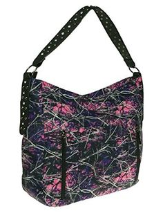 "Muddy Girl Print Concealed Carry Hobo Shoulder Handbag                  A stylish camouflage hobo in the Muddy Girl print from Monte Vista. Concealed carry pocket is accessible from left or right side. •Studded Shoulder Strap with a drop of 11"" •Back Slip Pocket on top of Conceal Pocket •Pass Thru Concealed Pocket •2 Inside Slip Pockets and a Zip Pocket"