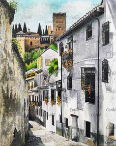 Bajando hacía la Alhambra (GRANADA). Oleo sobre lienzo,24x30 cm