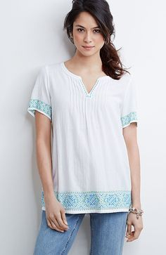 petite embroidered-border peasant top from J.Jill