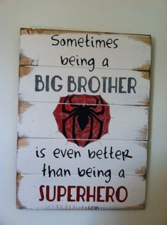 """Spiderman symbol - Little Boys are just SUPERHEROES in disguise. Large 13""""w x 17 1/2h hand-painted wood sign"""