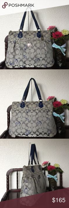 "Rare Coach Poppy Hearts Glam Tote Coach Poppy Hearts Glam Tote Style: 18711 ,silvertone hardware Signature fabric with patent leather trim Inside zip, cell phone and multifunction pockets Zip top closure,fabric lining Outside zip pocket Handles with 8.5"" drop Approx: 16 (L) x 12 (H) x 4 (W) Color: Silver/Khaki/gray/Navy ,used with normal wear from use..no damage..still in great condition..smoke/pet free..100%authentic Coach Bags Totes"
