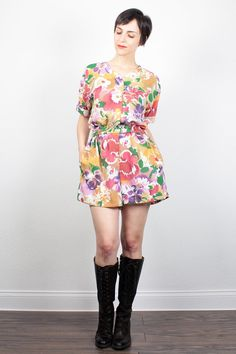 Vintage 80s Romper White Rainbow Abstract Watercolor Floral Print Playsuit 1980s Hipster Shortalls Slouch Top Shorts Jumper M Medium L Large by ShopTwitchVintage #vintage #etsy #80s #1980s #romper #playsuit #floral