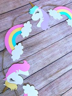 Unicorn garland unicorn cut outs unicorn decorations etsy Unicorn Birthday Decorations, Unicorn Centerpiece, Unicorn Themed Birthday Party, Birthday Party Themes, Unicorn Banner, Unicorn Pictures, Unicorn Crafts, Happy Birthday Banners, Cut Outs