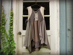Med. Artsy Bohemian Dress// Upcycled Gray Dress// by emmevielle, $95.00