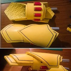 Finally finished my Ember Celica gauntlets for my Yang cosplay! T'was my first time properly making a weapon/prop from eva… <3