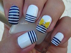 Nail Art - Nautical Stripes - Decoración de Uñas - Líneas Nauticas