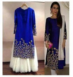Nice navy blue raw silk kurti with embroidery.