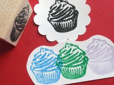 Cupcake Rubber Stamp by BlossomStamps on Etsy (own! - the small accent version)