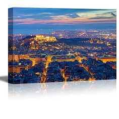 Wall26  Canvas Prints Wall Art  View over Athens with the Acropolis at Night  Modern Wall Decor Home Decoration Stretched Gallery Canvas Wrap Giclee Print Ready to Hang  24 x 36 * To view further for this item, visit the image link.Note:It is affiliate link to Amazon.