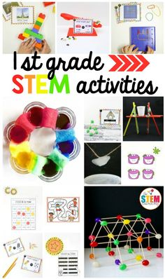 If you're looking for fun and engaging grade STEM activities (science, technology, engineering, and math), you've come to the right spot! 1st Grade Writing Worksheets, Activities For 1st Graders, 1st Grade Math Games, 1st Grade Crafts, Early Finishers Activities, 1st Grade Science, Spring Activities, Preschool Activities, First Grade Projects