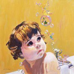 William  Ireland-Bubble Bath (oil on board)