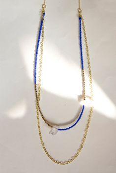 Blue Beaded Quartz Gold Brass Necklace Boho by inhersummerdress, $28.00