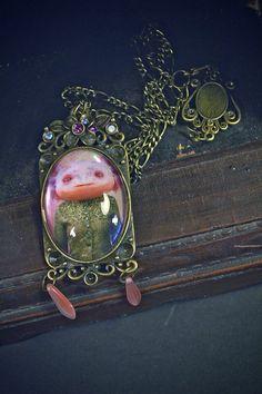 Carlota pendant art necklace Axolotl fantasy by SandraArteagA, $45.00