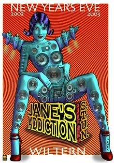 Jane's Addiction concert poster by Emek.