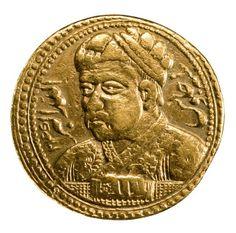 Akbar en una moneda acuñada por su hijo y sucesor, Jahangir. 1605. Museo…