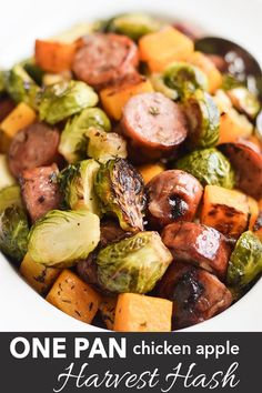 A healthy, one-pan dinner with fall vegetables, chicken apple sausages, and fresh rosemary. #glutenfree #dairyfree #paleo #healthy #onepan #grainfree #dinner
